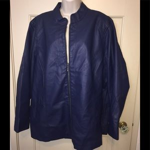 Navy Faux Leather Jacket